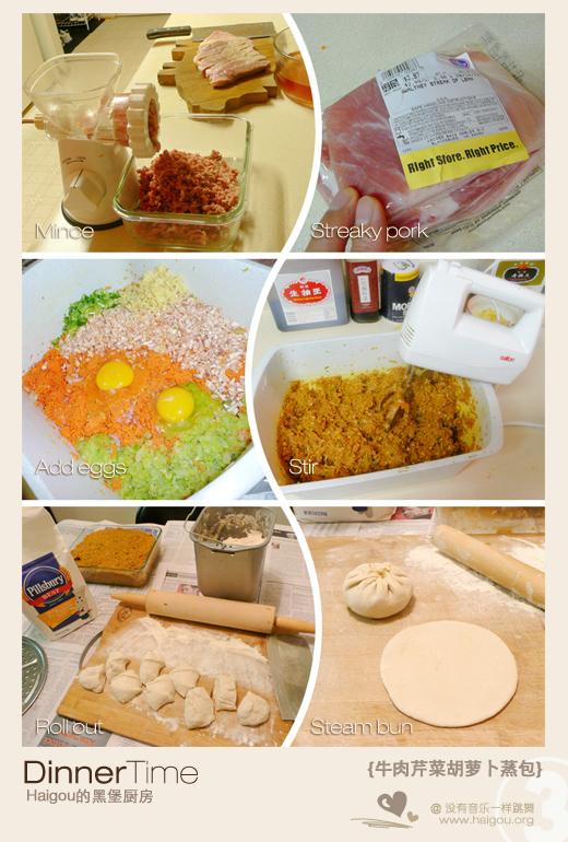 Haigou的黑堡厨房:牛肉芹菜胡萝卜蒸包3